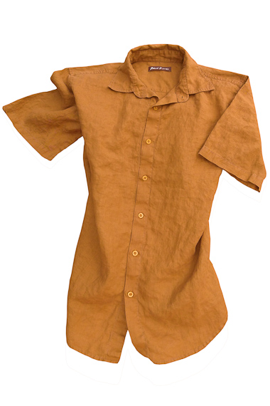 Men's Linen Short Sleeve Earth Light Brown Shirt