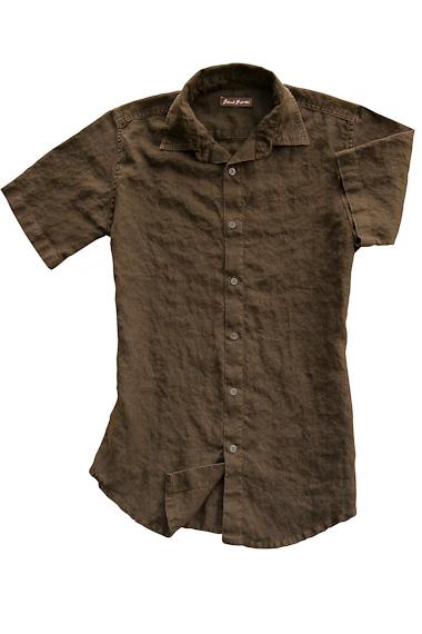 Men's Linen Short Sleeve Earth Brown Shirt