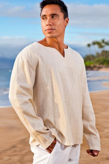 Men's Gauze Linen Long Sleeve White Beach Shirt