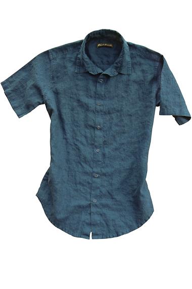 Men's Linen Short Sleeve Earth Dark Blue Shirt