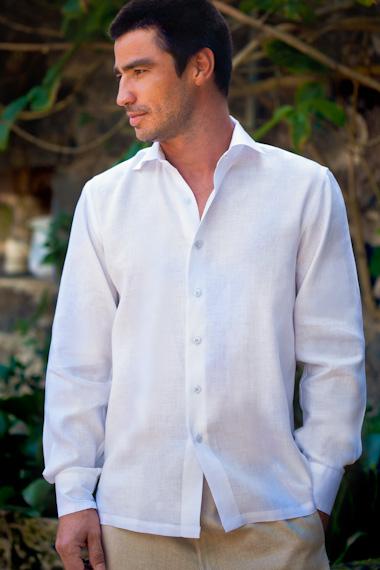 Men's Linen Long Sleeve White Italian Shirt