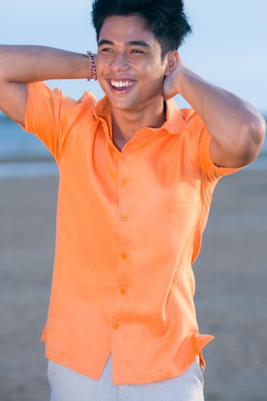 Men's Linen Short Sleeve White Italian Shirt