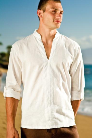 Men's Linen Open V-Neck White Long Sleeve Shirt