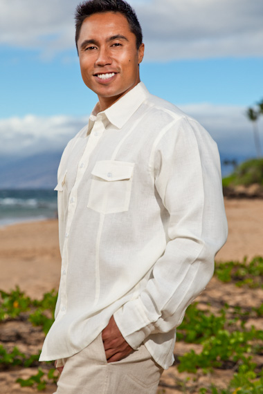 Men's Linen Traveler Long Sleeve White Shirt