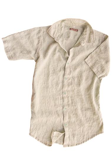 Men's Linen Short Sleeve Earth Light Gray Shirt