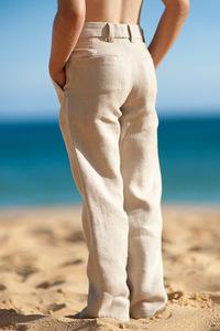 Boy's Linen Italian Pants Natural (Khaki) Beach Wedding