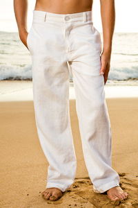 Boy's Linen White Italian Pants Beach Wedding