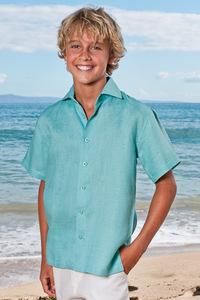 Boy's White Linen Short Sleeve Italian Shirt - Beach Wedding