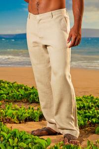 Men's Linen Italian Pants Natural (Khaki) Beach Wedding