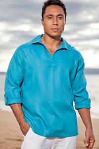 Men's Linen Long Sleeve Pullover Sea Green Shirt