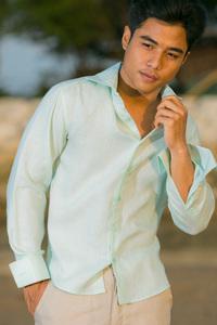 Men's Linen French Cuff White Long Sleeve Shirt