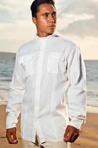 Men's Linen Safari Long Sleeve White Shirt
