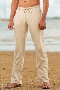 Men's Linen Natural (Khaki) Dress Pants Beach Wedding