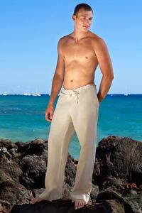 Men's Linen Drawstring Loose Fit Natural (Khaki) Pants