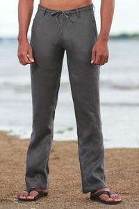 Men's Linen Gray Dress Pants Beach Wedding